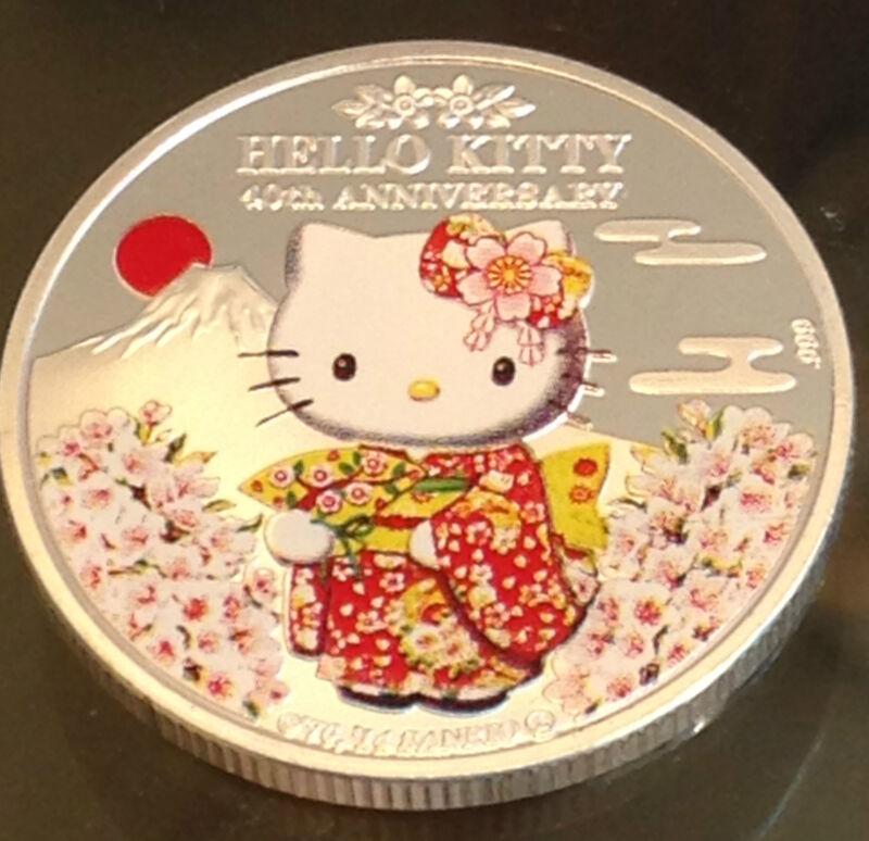 ❤️Sanrio Hello Kitty Souvenir 40th Anniversary 😸 Silver Plate Medallion Coin❤️