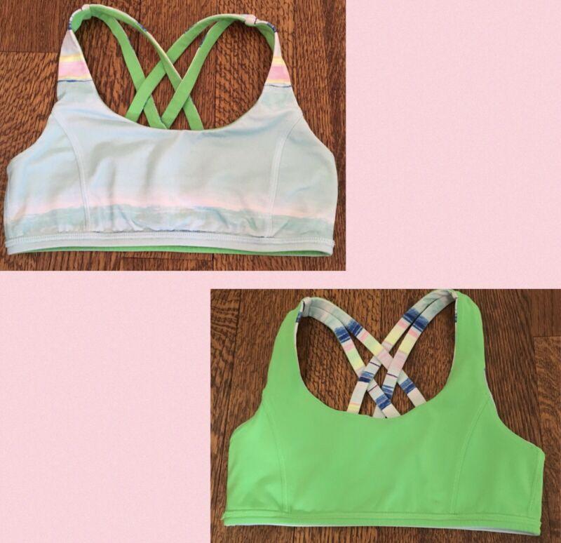 Ivivva by Lululemon Girls Reversible Sports Bra Light Green Print /Green, Sz 12
