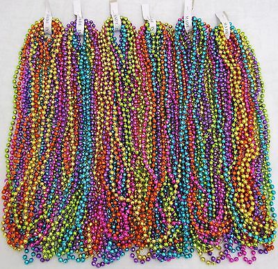 Mardi Gras Beads Assorted Neon Disco 6 dozen Throw 33 inch Necklaces 72 Strands
