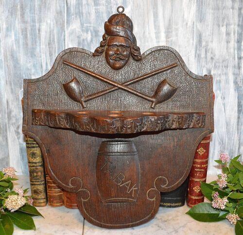 Antique German Black Forest Pipe Holder Rack Carved Wood Figural Plaque Tabak