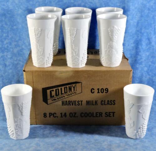8 Vtg. MIB Indiana Colony HARVEST GRAPE Milk Glass 14 Oz. Cooler Tumbler Set
