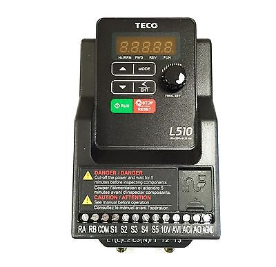 L510-201-H1 1HP Teco Variable Frequency Drive, 1 Ph Input / 3 Ph Out, 230V.