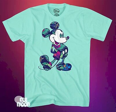 New Disney Mickey Mouse Hawaiian Flowers Classic Mens Vintage T Shirt