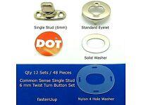 and Washer 100 sets Common Sense Kit Eyelet Stud 2 screw base