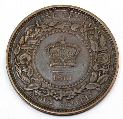1861 Canada / Nova Scotia One Large Cent / Penny - VF Very Fine Condition