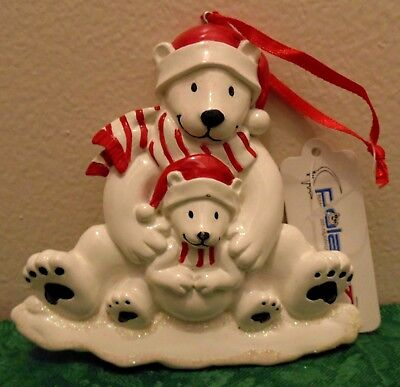 Personalized Polar Bears Father and Son Christmas Tree Ornament Holiday Gift