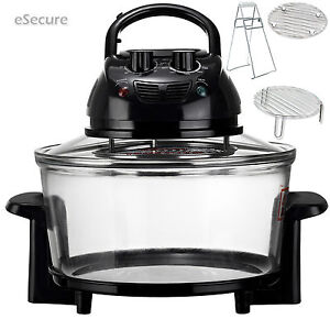 12 Litre Black Premium 1400w Halogen Convection Oven Cooker + Basic Accessories