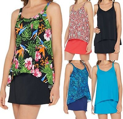 Denim & Co. Beach Hi-Low Tankini Swimsuit with Skirt~A303155