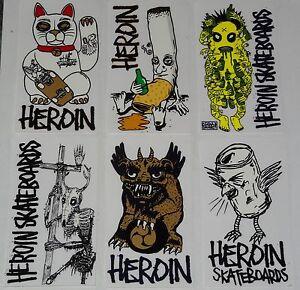 Heroin-Skateboards-Adesivo-Skateboard-assortiti-colore-COMBINAZIONI-Stili
