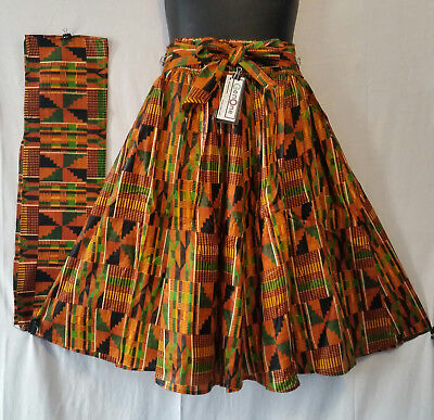 Women Kente Ankara Midi Short Skirt Elastic Waist 2 Pockets  Free Size 8 Panel