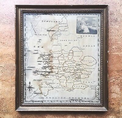 Large Antique Silk Needlepoint Map of England, Early 19th C. Embroidery Sampler for sale  Austin