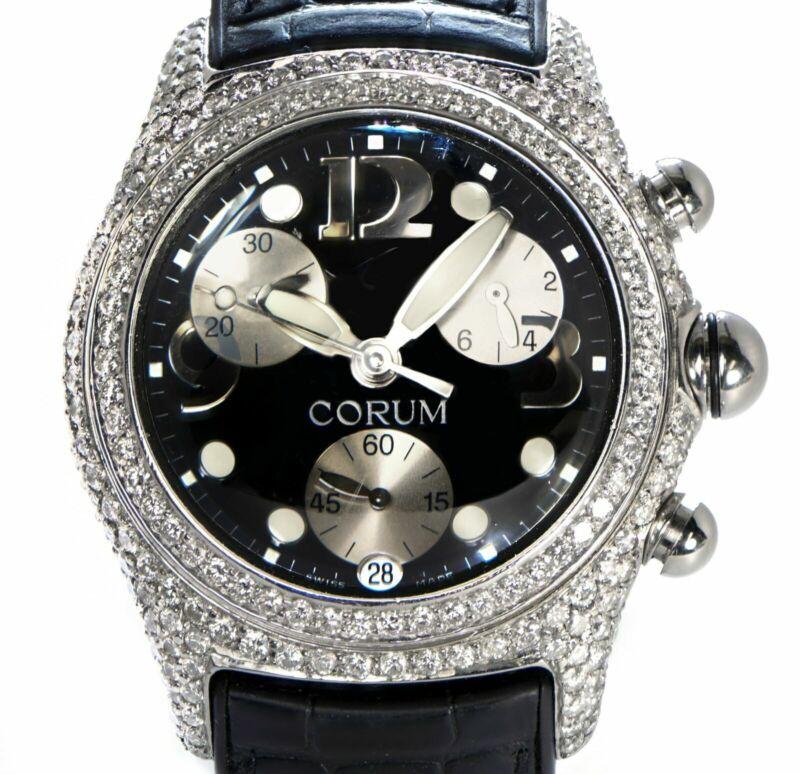 Corum Xl 45mm Bubble Steel Quartz Chronograph W/ Custom 7.50ct Diamonds