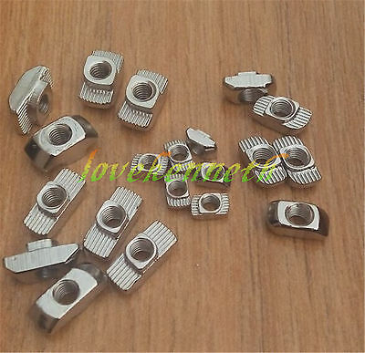 10-100pc Hammer Nut 45 Series Fastener Sliding Nut Nickel Plate T-nut M4 M5 M6m8