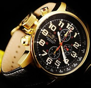 Invicta Men's Force Collection Chrono.18k Gold Plated S.S G.Leather Watch