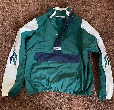 Vintage 90s Reebok Windbreaker 1/4 Zip Jacket Large Kangaroo Pouch.