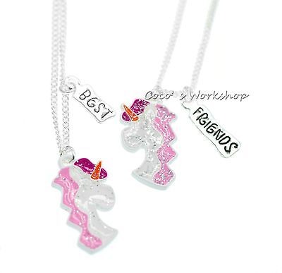 SPARKLING BEST FRIENDS BFF UNICORN NECKLACE FOR 2 GIRLS NECKLACE SET XMAS