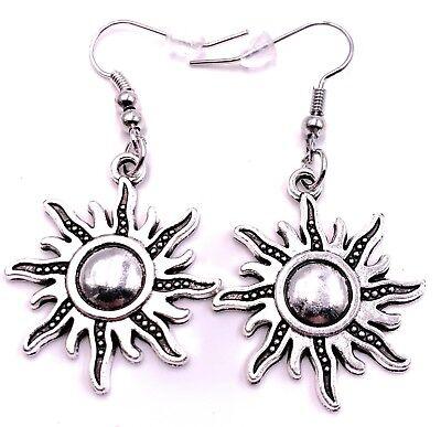 Sonnenschein Ohrringe (Sonne Sun Sonnenschein Sonnenflammen Ohrringe Ohrschmuck Anhänger Silber Metall)