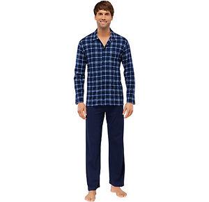 schiesser herren schlafanzug lang mit knopfleiste gr 48 64 s 6xl pyjama neu ebay. Black Bedroom Furniture Sets. Home Design Ideas
