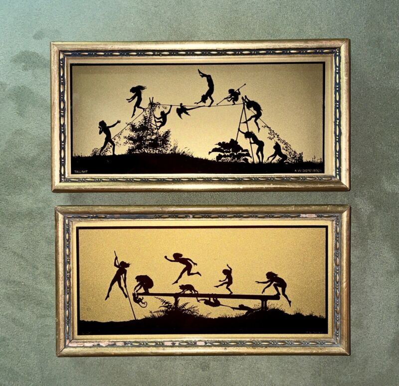 Diefenbach Antique Reverse Painted Silhouette Nymphs 2 of 4 Such Little Monkeys