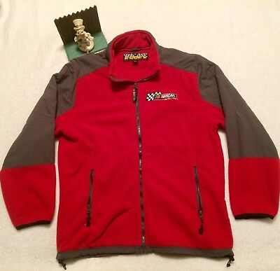 NASCAR Racing Fleece Zip Up Jacket Gray and Red XL Nice ESSEX.. New.. Display