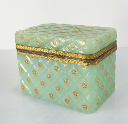 Antique Celadon Green Jadeite Color French Opaline Glass Trinket Box Gilt Flower
