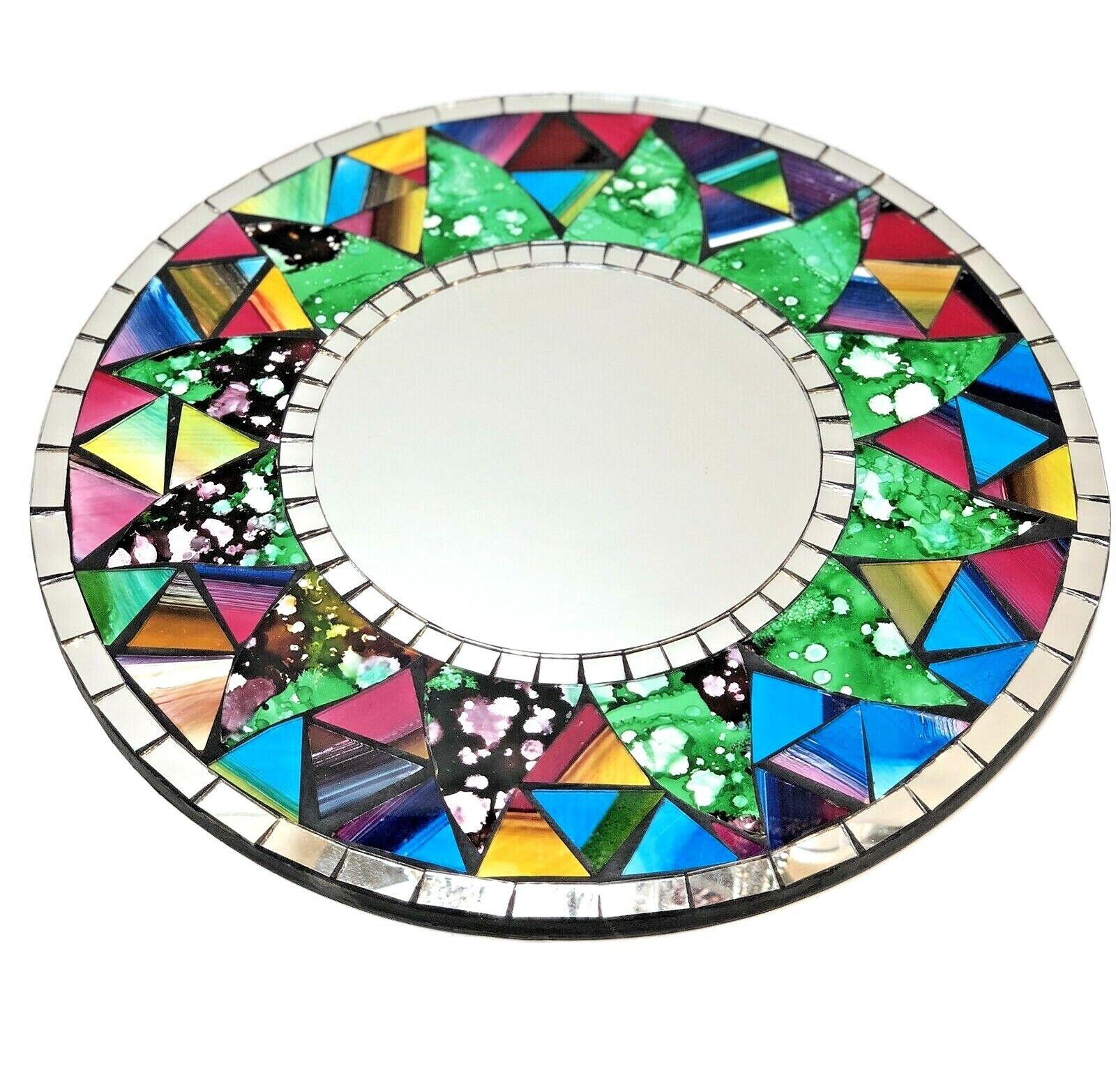 "Mosaic Mirror Hanging Multicolor Inlay Rainbow Round 12"" D"