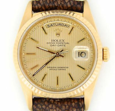 Mens Rolex Day-Date President 18K Yellow Gold Watch Ostrich Band Tapestry 18238