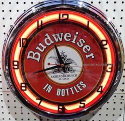 17 Classic BUDWEISER Sign Neon Clock Bud