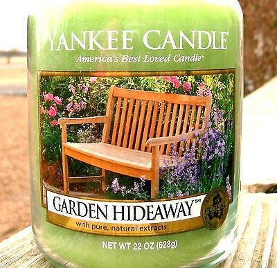 "Yankee Candle Retired ""GARDEN HIDEAWAY""~ Large 22 oz ~ WHITE LABEL ~RARE ~ NEW for sale  Laurel"