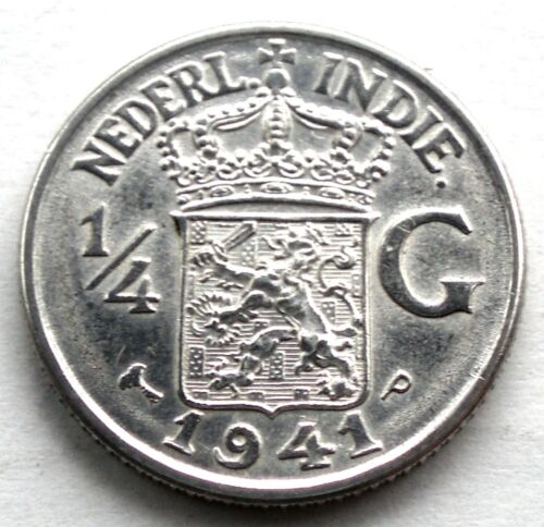 NETHERLANDS EAST INDIES 1/4 GULDEN 1941 P UNC Philadelphia Mint, Silver. MM9.4