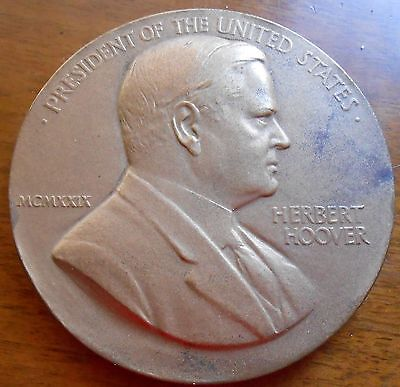 """HERBERT HOOVER 1929  INAUGURATION BRONZE  MEDAL 3""""  SOLD OUT MINT"""