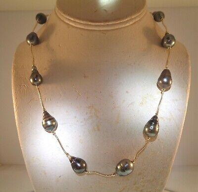 GRADUATED BAROQUE TAHITIAN BLACK PEARL 14K YELLOW GOLD DC SWIRL NECKLACE 19+