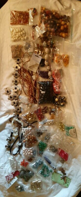 6.2 LBS Beads Mixed Lot Vintage Wood Clay Glass Stone Findings Shell Lucite