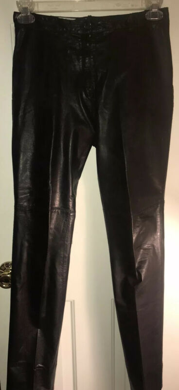 KENAR SOFT 100% Genuine Butter Soft Leather Pants Slacks Black Size 8 Vintage