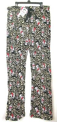 - Betty Boop Pajama Bottoms Lounge Pants Leopard Print.Fleece Small Medium Large