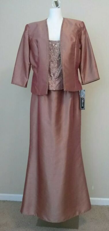 NEW Karen Miller New York Cinnamon Long Beaded Dress with Jacket Size 14