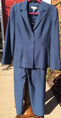 Amanda Smith Blue Pant Suit Size 10 Business Office Wear Lined Straight Leg