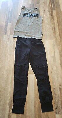 NIKE Black Nylon Athletic Pants Women's Size S zip Pocket + Puma Tank Shirt S