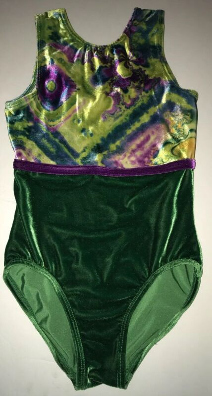 GK ELITE Gymnastics LEOTARD Green & Purple Size CM Child Medium