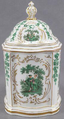 Teichert Meissen Dresden Style Green Courting Couples Floral & Gilt Biscuit Jar