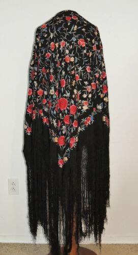 Antique Hand Embroidered Chinese  Heavy Silk Colorful Piano Shawl w Fringe
