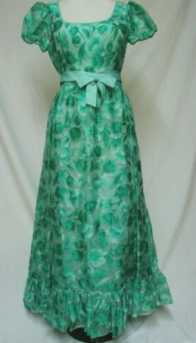 1960s 70s VINTAGE GREEN FLORAL PRINT SILK FLOUNCE FORMAL BALLROOM DRESS