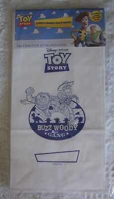 Disney TOY STORY Woody & Buzz white paper lunch bags sack party favor NEW 11 pcs - White Lunch Bags