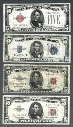 US 1928B 1934C 1953 1963 $5 x 4 pcs