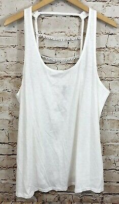 Cacique cage back tank top womens 18/20 new white crochet sleeveless shirt H5 Crochet Back Tank