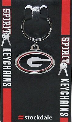 GEORGIA BULLDOGS KEY CHAIN CHROME METAL WITH INLAID ACRYLIC