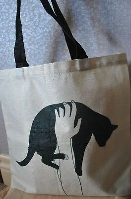 "Cat ""Holded Cat"" Print Linen Tote Bag Eco Reusable LOWER PRICE!!"