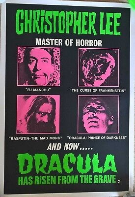 DRACULA  HAS RISEN FROM THE GRAVE 1968 RARE QUAD CROWN , ON LINEN