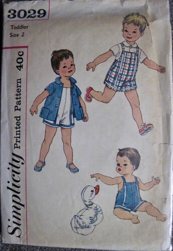 Vintage 1959 Simplicity Toddler Boys Playsuit & Shirt Pattern #3029 Sz 2