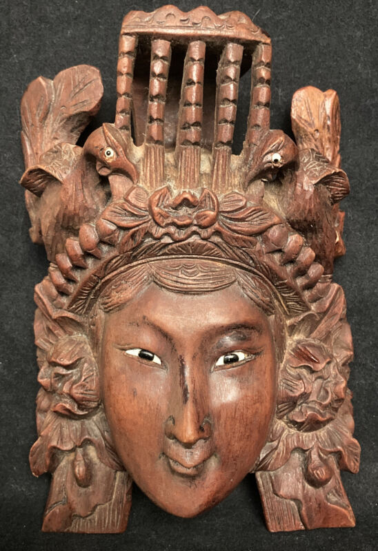 Antique Hand Carved Rosewood Chinese Tibetan Empress Mask w Glass Eyes Birds